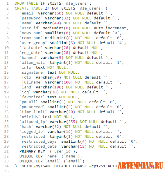 SQL код таблицы dle_users