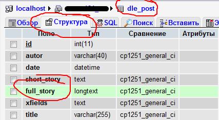 phpmyadmin dle post structure - DLE — ограничение количества символов в полной новости