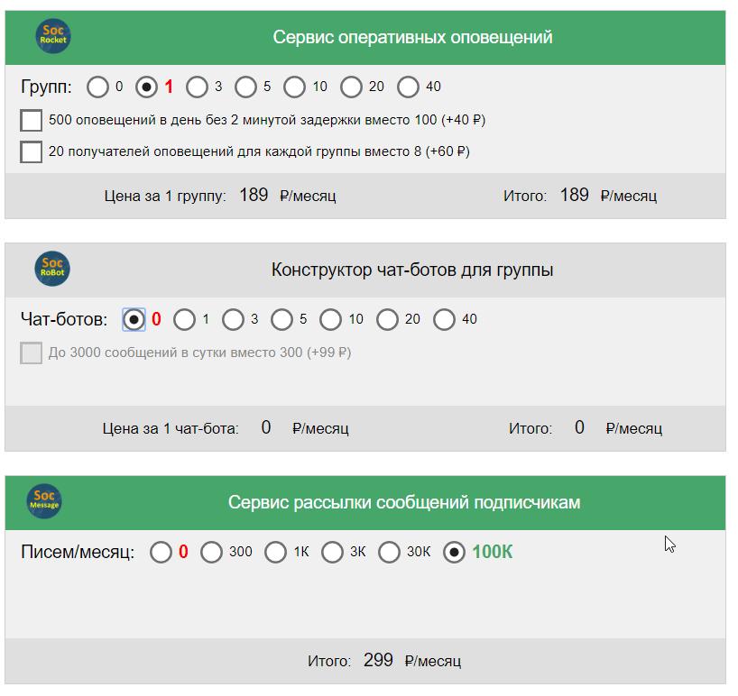 socrocket tarifs - Socrocket — мощный сервис уведомлений для 42 событий в группах ВКонтакте