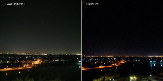 Huawei P30 Pro против Nikon D90 ночная съемка