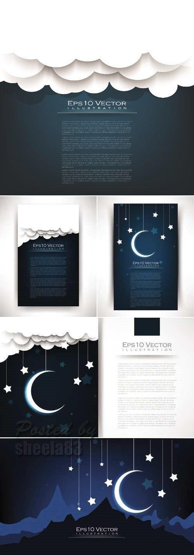 night clipart - Бумажные ночные фоны в векторе — облака, звезды и месяц