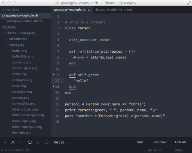 theme spacegray 1 620x494 - Sublime Text — набор необходимых плагинов для повседневной работы