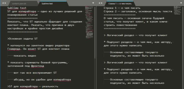 контент-план в редакторе кода Sublime text