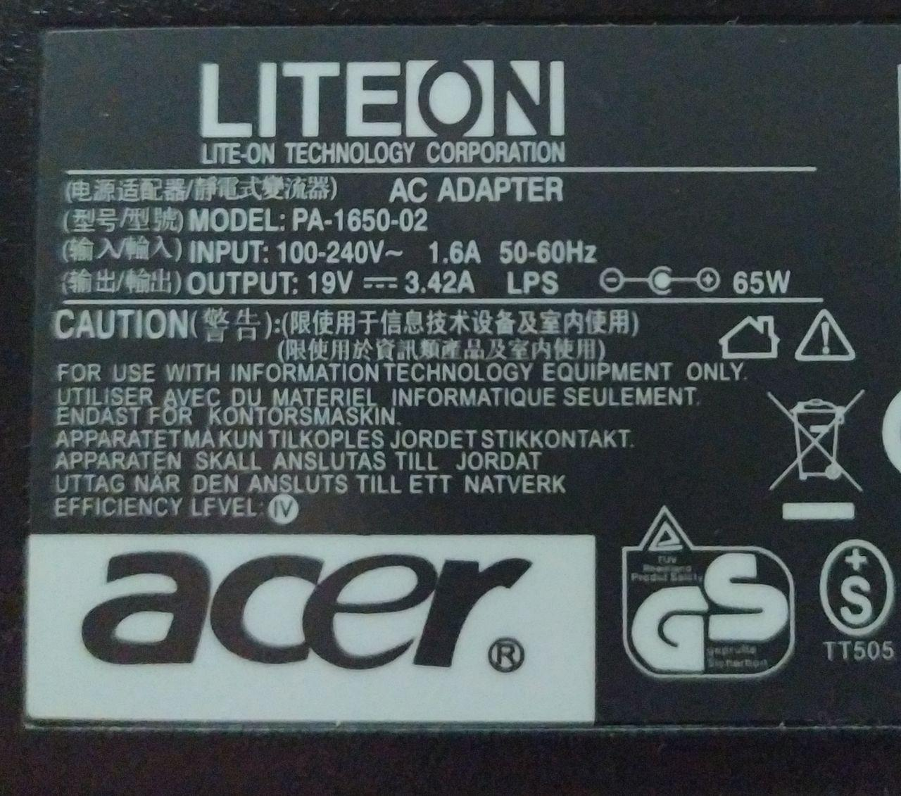 Acer Spin 1 battery charger
